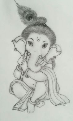 Ganesha Art Stock Photos And Images Abiding Suggestions Ganesh Art Images Ganesha Sketch, Ganesha Drawing, Lord Ganesha Paintings, Ganesha Art, Ganpati Drawing, Krishna Painting, Girl Drawing Sketches, Art Drawings Sketches Simple, Easy Pencil Drawings