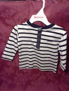 NEW! DKNY DENIM Trim L/S Top Shirt 12M Months Baby Striped Navy Blue Off White #DKNY #DKNY #Toddler