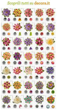 Russian piping tips Russian Cake Decorating Tips, Cake Decorating Piping, Creative Cake Decorating, Cake Decorating Techniques, Cookie Decorating, Decorating Cakes, Russian Icing Tips, Russian Cakes, Cupcakes Flores