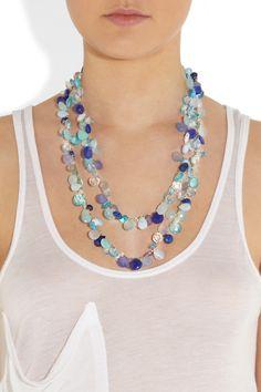 Rosantica|Pacifico opal, agate and aquamarine necklace|NET-A-PORTER.COM