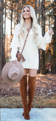 #winter #outfits white long-sleeve dress; brown wide brim hat; pair of brown suede thigh-high boots