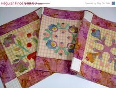 Pink October for Breast Cancer Awareness Month. ON SALE Floral Quilted Table Runner Soft Colors by SallyManke