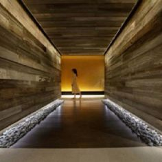 Miraval's Life in Balance Hallway. Natural wood - It is stunning