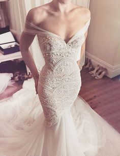 Mermaid Style Off-the-Shoulder Court Train Wedding Dress with Lace Pearls