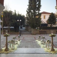 wedding trikala greece Church Wedding Decorations, Church Flowers, Wedding Ceremony, Sidewalk, Wedding Ceremonies, Sidewalks, Pavement, Walkways