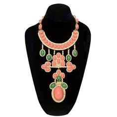 William de Lillo bib necklace, 1971. With faux coral and jade cabochon set pendants. Original hidden push clasp closure intact.