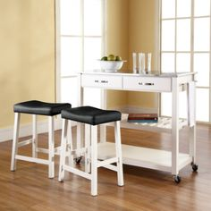 Stainless Steel Top Kitchen Cart Island In Black Finish With 24 Upholstered Saddle Stools