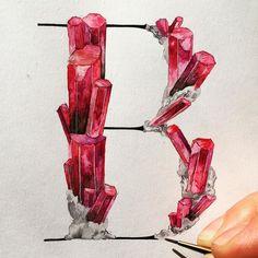 Chrystal B by Nim Ben-Reuven Lettering Design, Hand Lettering, Design Letters, Different Handwriting Styles, Alphabet Cards, Script Alphabet, Alphabet Soup, Crystal Drawing, Ps Tutorials