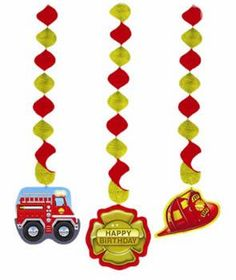 Firefighter Decorative Dangling Cutouts