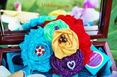 Colorful Shabby Polka Dot Turquoise Red Mesh Satin by Unikbaby, $12.50