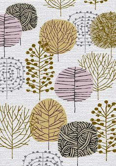 mid century modern tree textile - Google Search