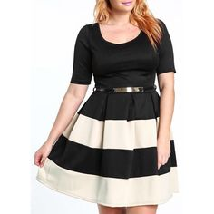 Wholesale Stylish Scoop Neck Short Sleeve Wide Striped Dress For Women Only $8.99 Drop Shipping | TrendsGal.com