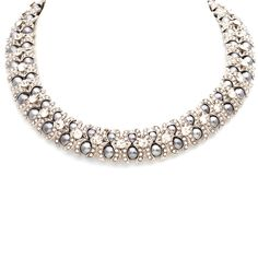 Half moons of CZ embrace rows of silver pearls in the smoky sparkle of the Francesca necklace. With CZ shine throughout, you'll add glam to every occasion!  Find it on Splendor Designs