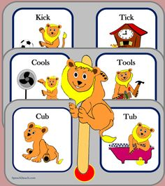 NEW and IMPROVED set. Listening Lions Listen for /k/ and /t/ from speech2teach. http://www.teacherspayteachers.com/Product/Listening-Lions-Listen-for-k-and-t-315196