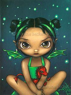Green Dragonling gothic fantasy fairy dragon art by strangeling