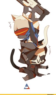 LKiKAi,Overwatch,Blizzard,Blizzard Entertainment,фэндомы,Soldier 76,Reaper (Overwatch),cats