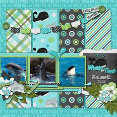 seaworld scrapbook page available as a freebie digital Quickpage download on the Design's by Connie Prince blog