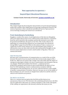 New approaches to openness – beyond open educational resources