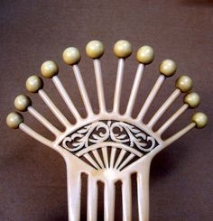 Art Deco Hair Comb French Ivory with Balls Spanish Comb Hair