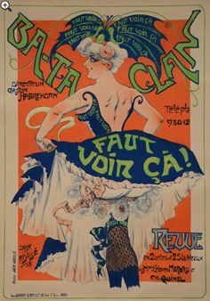 Music Hall poster by Bee EJack (1873 -?), 1907,  Bataclan, Must See Revue in 2 Acts, Paris.