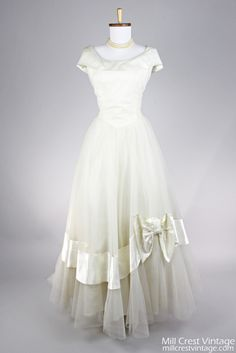 1950 Ivory Satin and Tulle Vintage Wedding Gown