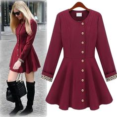 Fashion O Neck Long Sleeve Single Breasted Wine Red Long Trench