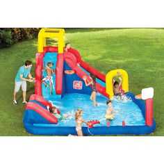 Outdoor inflatable play fun pool polyester with pvc layer banzai water slide banzai outside - Piscina toys r us ...