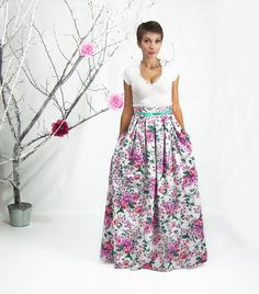 High Low Hem Skirt, Maxi Skirt, High Waisted Skirt, Plus Size Maxi ...