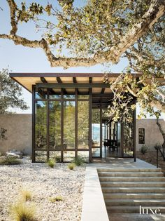 Architect Mary Ann Gabriele Schicketanz designed a dramatic contemporary house, built by Todd Hunt and Forrest Hunt, for a couple's site within Carmel's Tehama development. Landscape designer Bernard Trainor incorporated plantings natural to the setting.  ~ Great pin! For Oahu architectural design visit http://ownerbuiltdesign.com