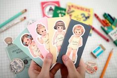 """Cute Paper Doll Mate Sticky Memos. Available as singles or in set of the 3 - Selly, Alice, and Julie.Come with outfit you can stick on top...cute!!!The paper doll part is about 4"""" x 1 3/4""""25sheets x 3ea $6.50"""