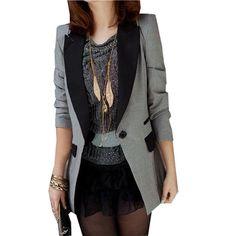 Women Blazer Fashion 2016 New Ladies Small Suit Spring Autumn One Button Slim Work Wear Blazers Femininas Plus Size