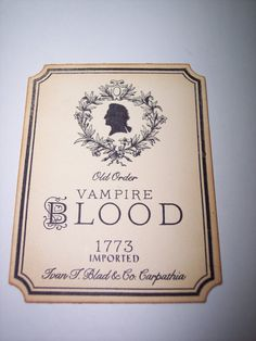 Vampire Blood Tags Set of 4 by mreguera on Etsy, $4.50