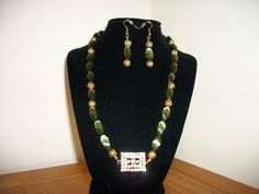 Green and Gold Necklace and Earrings Set/Fashion Accessories/Gift for Her/Jewelry for Women/ - pinned by pin4etsy.com