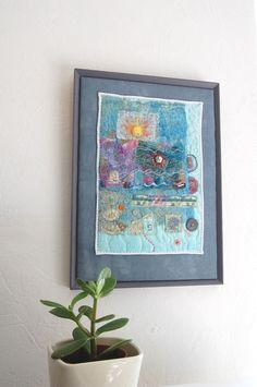 SALE Not Waving Drowning  Original  Framed Textile by materialised, £75.00