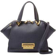 ZAC Zac Posen Women's Eartha Iconic Small Leather Satchel - Dark... ($269) ❤ liked on Polyvore featuring bags, handbags, leather satchel purse, navy handbags, genuine leather handbags, leather purses and navy purse