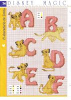 Cross Stitch Letters, Beaded Cross Stitch, Cross Stitch Embroidery, Disney Stitch, Baby Cross Stitch Patterns, Cross Stitch Charts, Disney Magic, Alphabet Disney, Simba Disney
