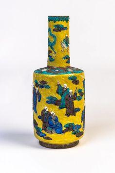 """Chinese """"Sancai"""" glazed porcelain vase, Qing dynasty"""