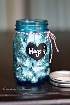 Hugs Kisses / Happy Valentine's Day / Sapphire Anniversary / Vintage Blue Mason Jar Valentine's Gift Ideas *** gift blue Hugs and Kisses Mason Jar Valentines Gifts Diy Father's Day Gifts, Cute Gifts, Craft Gifts, Holiday Gifts, Christmas Gifts, Valentine Decorations, Valentine Day Crafts, Happy Valentines Day, Blue Mason Jars