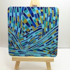 Blue Abstract Painting, Original Art, Painting On Wood, Painted Wood, Gold Painting, Small Painting, Square Painting, Art Lover's Gift by Larryware on Etsy