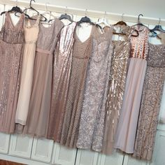 Perfectly mismatched champagne bridesmaid dresses! (Purchased from a variety of places from Macy's, to forever 21, Davids Bridal to Ross).