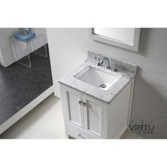 Eviva Aberdeen 24 Transitional White Bathroom Vanity With Carrera Countertop Inch Sink Has Unique And Very