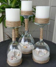 Wine Glasses, sand, shells, modge podge and twine