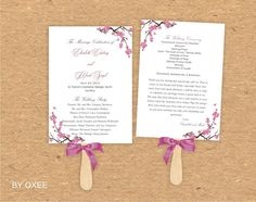 Printable Wedding ceremony fan program template Cherry by Oxee