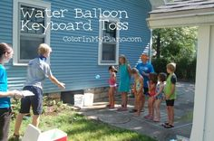 Water balloon keyboard toss - 5 ways for kids to learn about music using sidewalk chalk from And Next Comes L