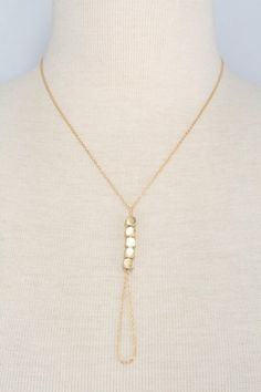 y chain necklace with circular link pendant worn gold #fashionjewelry #necklace