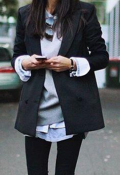 fall layers. blazer. sweatshirt. blue shirt. tee. denim.