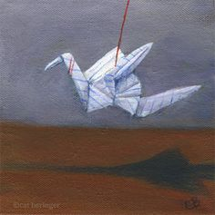 Cat Beringer Art: Dreaming of Flying, Painting an Origami Crane