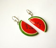 Watermelon Red Earrings handmade, funny jewelry, bright jewelry, red and green