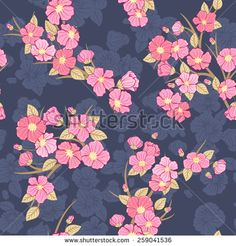 Seamless cherry bloom background. Fabric textile pattern. - stock vector