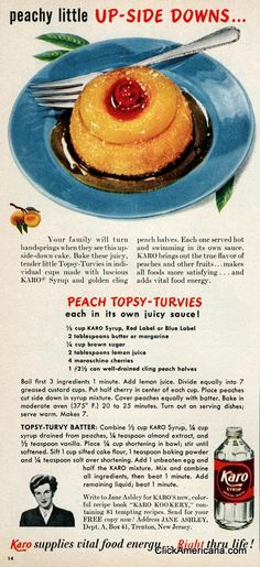 Peach Topsy-Turvies recipe (1950) - these look really yummy!